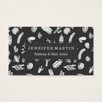 Modern White and Black Succulent Cactus  Pattern Business Card