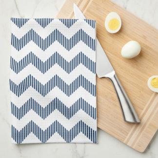Modern White And Blue Chevron Pattern Towel
