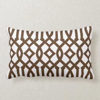 Modern White and Brown Imperial Trellis Throw Pillow