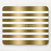 Modern White And Faux Gold Stripes Pattern Mouse Pad