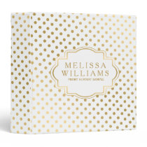 Modern White And Gold Dots Pattern Binder