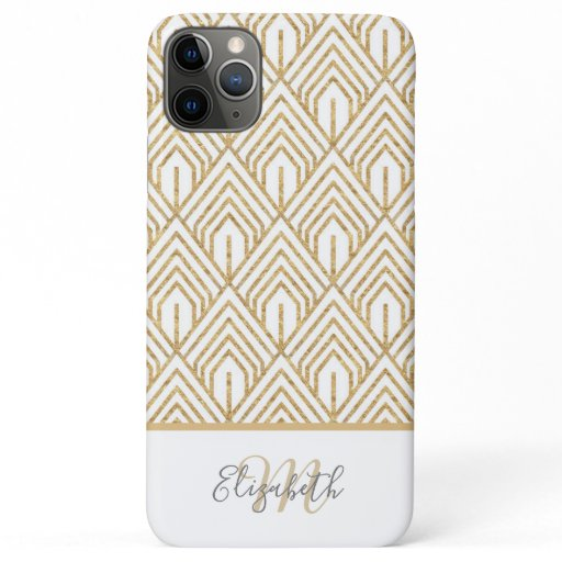 Modern White and Gold Geometric Abstract Pattern iPhone 11 Pro Max Case