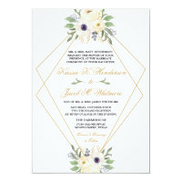Modern White and Gold Geometric Floral Invitation
