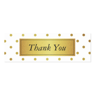 Modern White and Gold Glitter Thank You Favor Tag Mini Business Card
