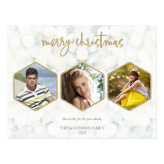 Modern White and Gold Merry Christmas Triple Photo Postcard