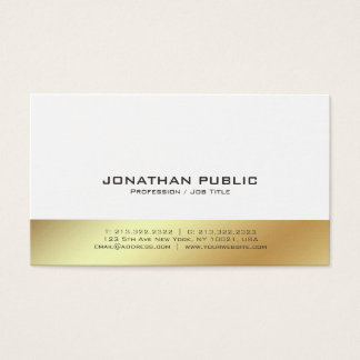 Modern White and Gold Professional Elegant Plain Business Card