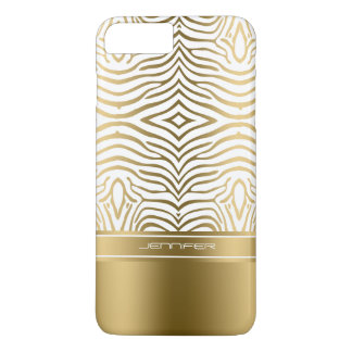 Modern White And Gold Zebra Stripes iPhone 7 Plus Case