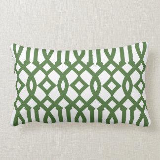 Modern White and Green Imperial Trellis Pillows