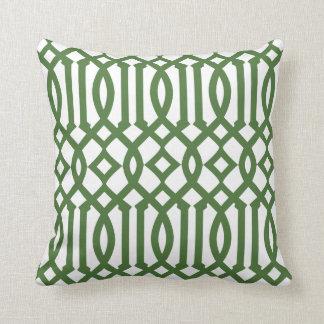 Modern White and Green Imperial Trellis Throw Pillows