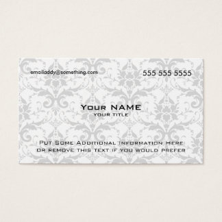 Modern White and Grey Damask Business Card