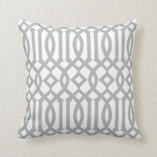Modern White and Light Gray Imperial Trellis Throw Pillows