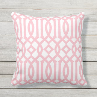 Modern White and Light Pink Imperial Trellis Throw Pillow