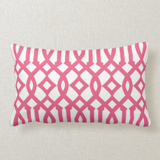 Modern White and Pink Imperial Trellis Lumbar Pillow