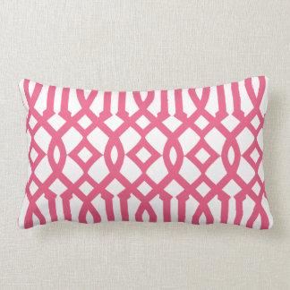 Modern White and Pink Imperial Trellis Throw Pillows