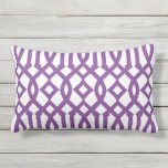 "Modern White and Purple Imperial Trellis Outdoor Pillow<br><div class=""desc"">Add style to your home&#39;s decor with a beautiful,  chic modern white and purple imperial trellis lumbar pillow.</div>"