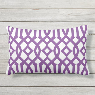 Modern White and Purple Imperial Trellis Outdoor Pillow