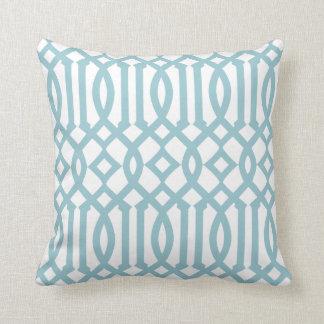 Modern White and Sky Blue Imperial Trellis Throw Pillow