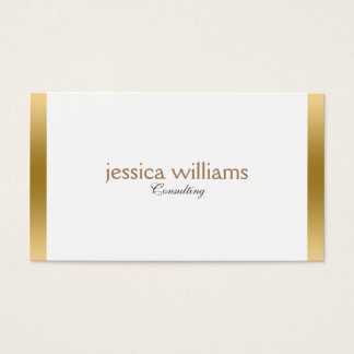 Modern White Background Gold Border Business Card