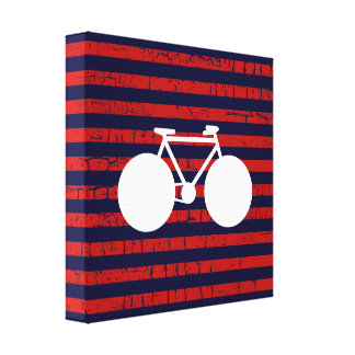 modern white bicycle & red stripes stretched canvas print