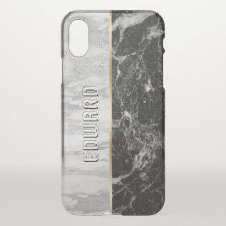 Modern White & Black Marble Print iPhone X Case