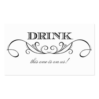Modern White & Black Swirl Wedding Drink Ticket Business Card Template