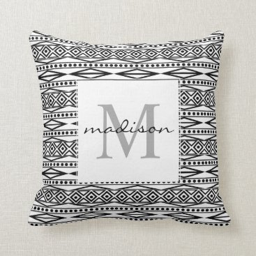 Aztec Themed Modern White Black Tribal Aztec Geo Monogram Throw Pillow