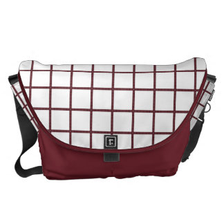 Modern White Blocks with Wine Lines Courier Bag