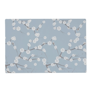 Modern White Blue Cherries Blossom Floral Pattern Placemat at Zazzle