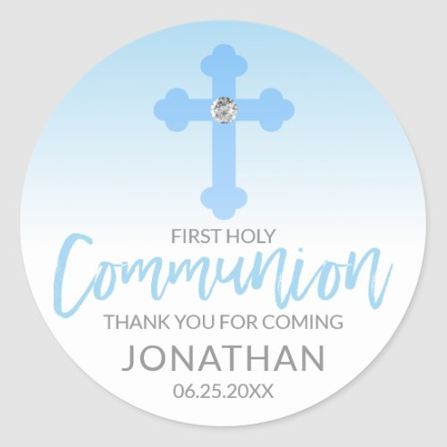 Modern White Blue Cross COMMUNION Boy Thank You Classic Round Sticker