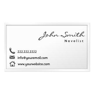 Modern White Border Novelist Business Card