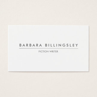 MODERN WHITE BUSINESS CARD FOR AUTHORS & WRITERS