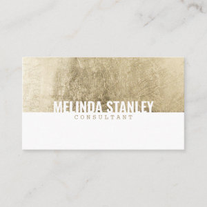 Modern white chic gold foil elegant color block business card