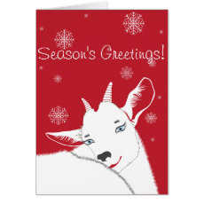 Modern White Christmas Goat Red Card