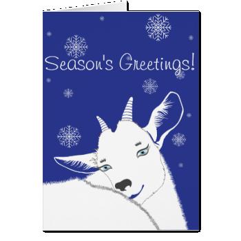 Modern White Christmas Goat Redlue Cards