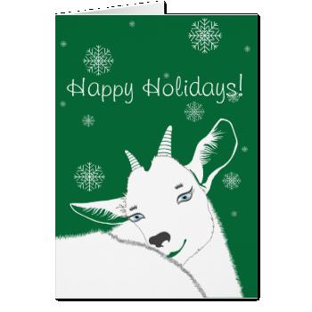 Modern White Christmas Goat Snowflakes Card
