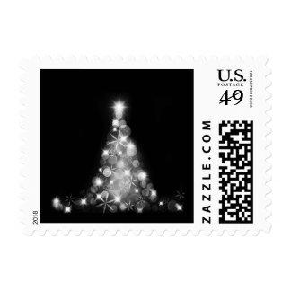 Modern White Christmas Tree Graphic on Black Postage