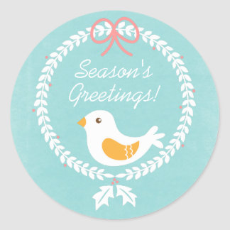 Modern White Christmas Wreath With Peace Dove Round Stickers