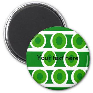 Modern white circles green background magnet