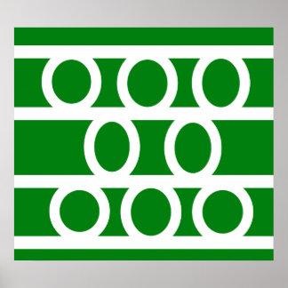Modern white circles on green background poster