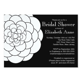 "Modern White Dahlia Bloom Floral Bridal Shower 5"" X 7"" Invitation Card"