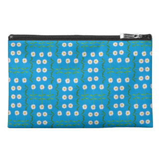Modern White Daisies Pattern on Teal Travel Accessory Bag