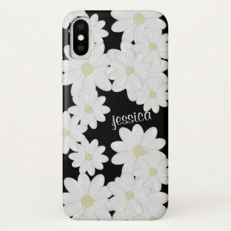 Modern White Daisy Black iPhone X Case