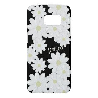 Modern White Daisy Black Samsung Galaxy S7 Case