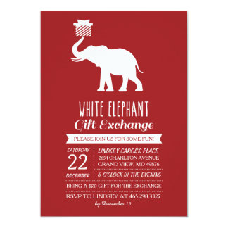 White elephant exchange invitations announcements zazzle modern white elephant gift exchange invitation negle