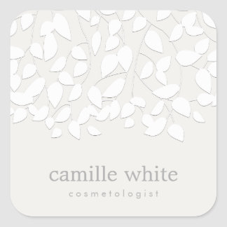 Modern White Embossed Look Leaves Square Sticker