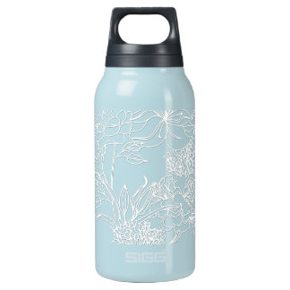 Modern White Embossed Wildflowers Thermos Bottle