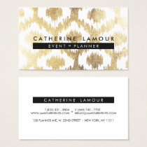 Modern white faux gold foil handrawn ikat pattern business card