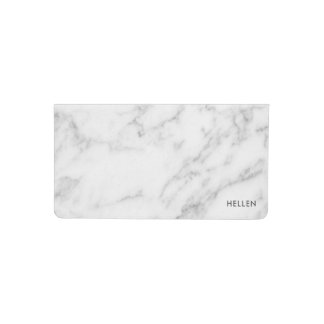 Modern White Faux Marble Stone Checkbook Cover