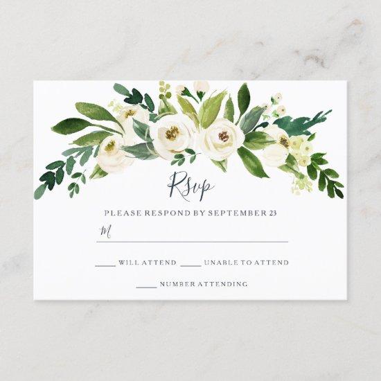 Modern White Floral Garden Wedding RSVP