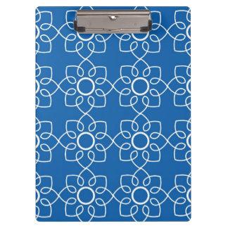 Modern White Floral Pattern On Blue Clipboard